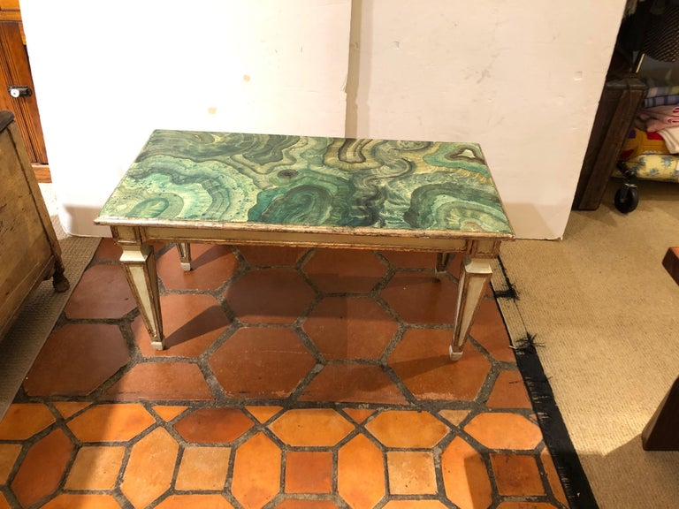 Chic rectangular Italian vintage coffee table hand-painted with a striking green faux malachite top, and grey with silver gilt detailing on the base.