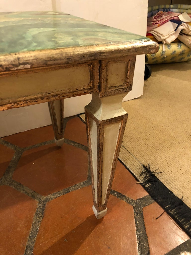 Mid-20th Century Chic Italian Hand-Painted Faux Malachite and Silver Gilt Coffee Table For Sale