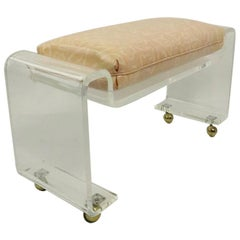 Chic Lucite Bench on Ball Coaster Feet after Charles Hollis Jones