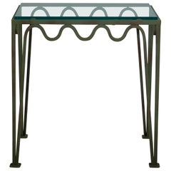 Chic 'Méandre' Verdigris and Glass Nightstand by Design Frères