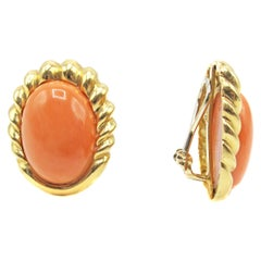 Chic Mediterranean Coral Gold Ear Clips