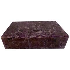 Chic Mid-20th Century Amethyst Quartz Table Box