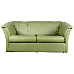 Chic Mid-Century Modern Green Leather Sofa / Loveseat by De Sede