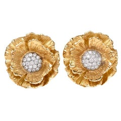 Chic Mish Hibiscus Flower Diamond Yellow Gold Clip-On Earrings