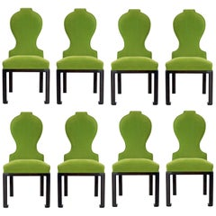 Chic Modernist Dining Chairs in Green Mohair