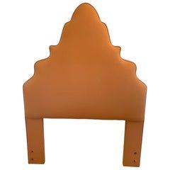 Chic Padded Pagoda Shaped Cantelope Upholstered Twin Headboard