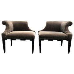 Chic Pair of Baker Corner Chairs Upholstered in Mushroom Velvet