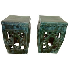 Chic Pair of Green Glazed Ceramic Asian Square End Table Garden Seats