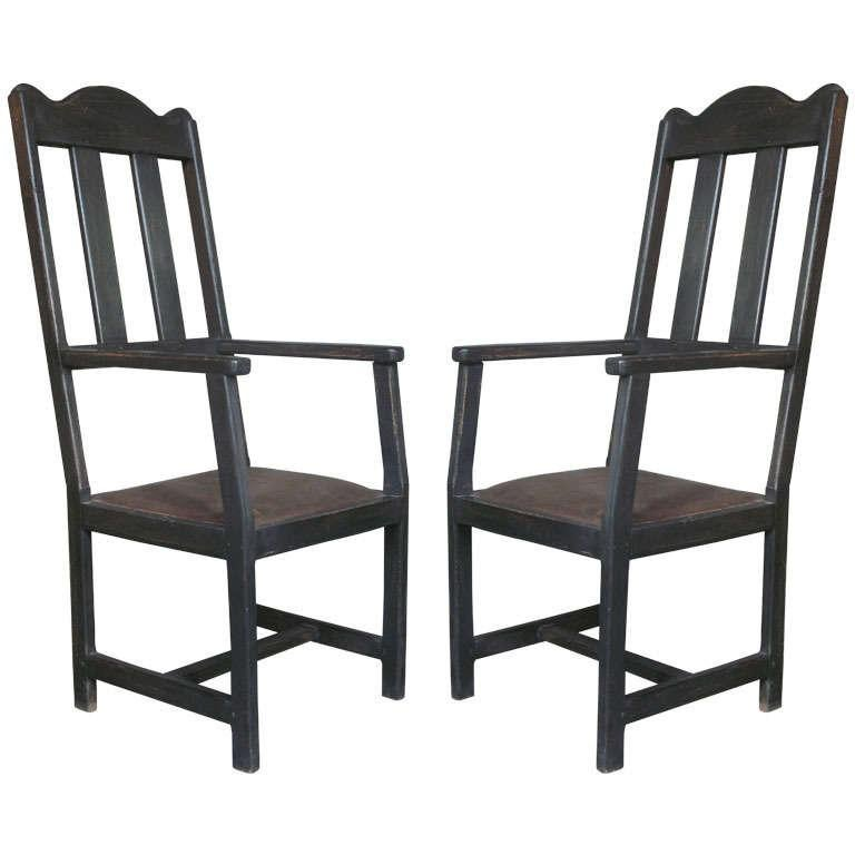 Chic Pair of Hall Chairs, France, Early 20th Century