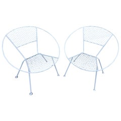 Chic Pair of Mid-Century Modern Circular Shaped Patio Chairs