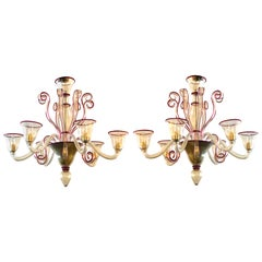 Chic Pair of Murano Gold-Aventurine 6-Light Chandeliers with Ruby-Red Edging