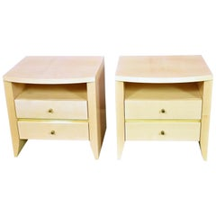 Chic Pair of Nightstands/End Tables in a Soft Yellow Lacquer with Brass Details