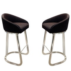 """Chic Pair of Swiveling """"Lion in Frost"""" Lucite Bar Stools 1970s 'Signed'"""