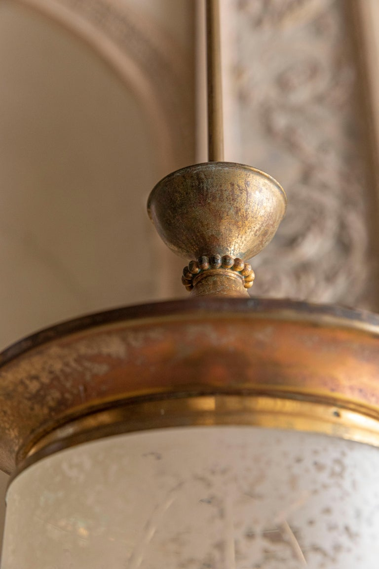 Brass Chic Pendant Attributed to Oscar Torlasco For Sale