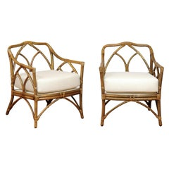 Chic Restored Pair Modern Cathedral Back Loungers by McGuire, circa 1975