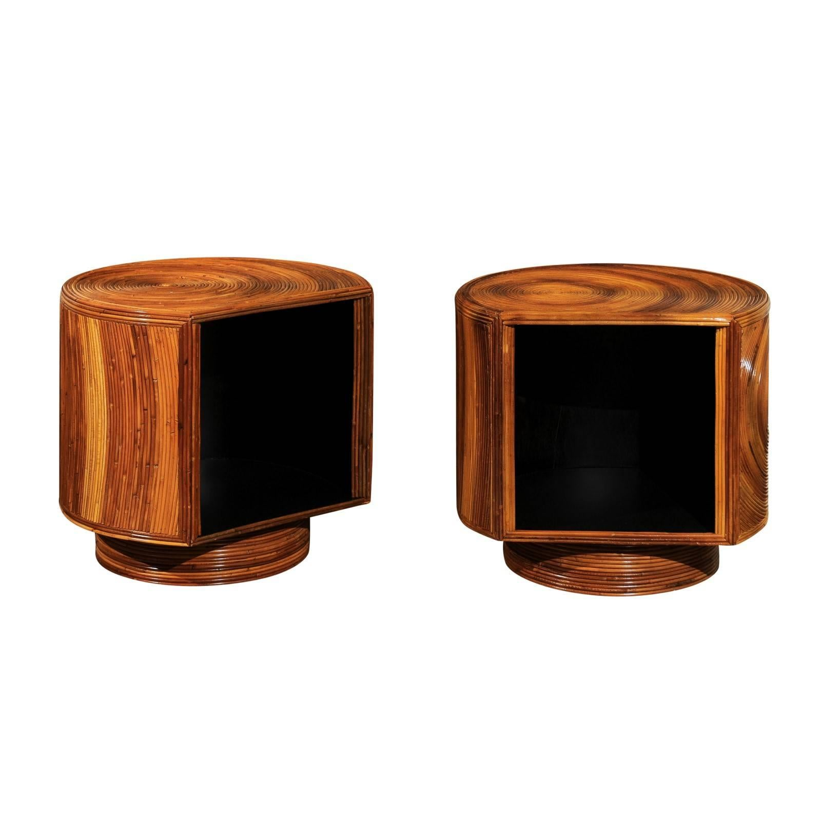 Chic Restored Pair of Swivel Bamboo and Black Lacquer End Tables, circa 1975
