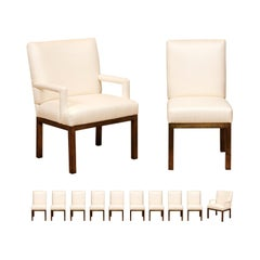Chic Restored Set of 12 Brass Parsons Dining Chairs by John Stuart, circa 1968
