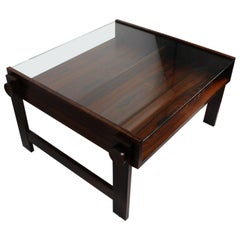Chic Rosewood and Glass Coffee Table