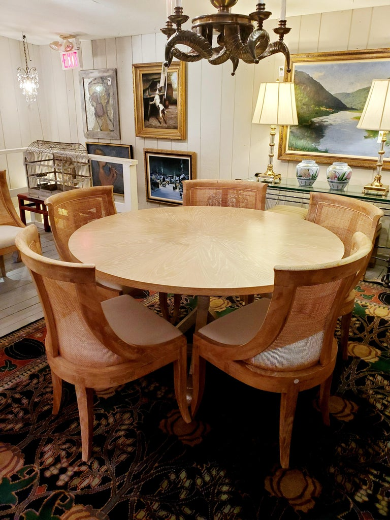 American Chic Round Contemporary Blonde Oak & Gilt Dining Table For Sale