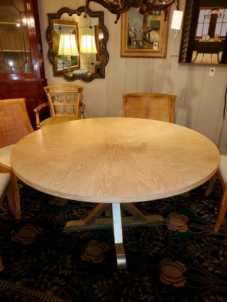 Late 20th Century Chic Round Contemporary Blonde Oak & Gilt Dining Table For Sale
