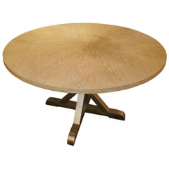 Chic Round Contemporary Blonde Oak & Gilt Dining Table