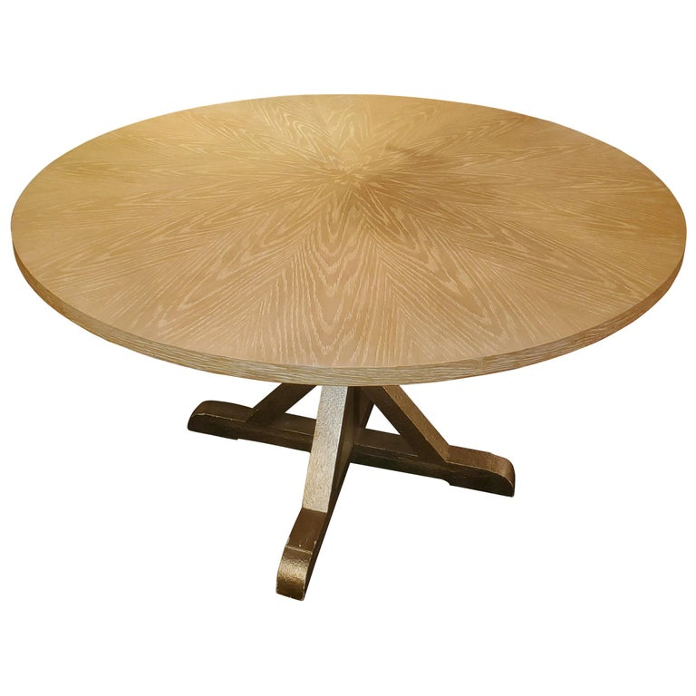 Chic Round Contemporary Blonde Oak & Gilt Dining Table For Sale