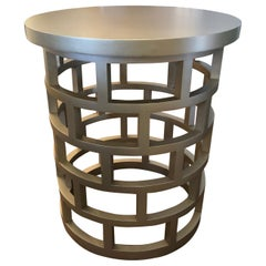 Chic Round Silver Contemporary Side Table