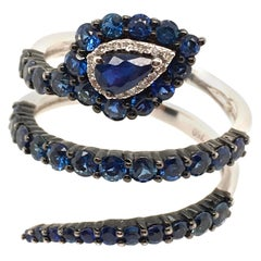 Chic Sapphire and Diamond Snake Ring