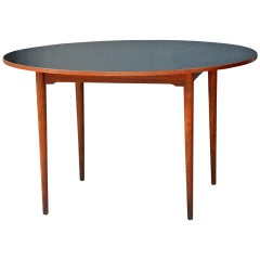 Chic Scandinavian Teak Table with Durable Black Laminate Top