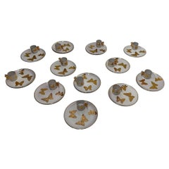 Chic Set of 12 Designer Italian Pottery Gold & White Butterfly Plates & Cups