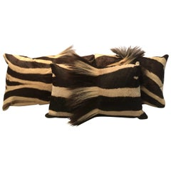 Chic Set of 3 Custom Authentic Vintage Burchell Zebra Hide Pillows