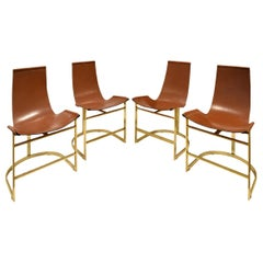 Chic Set of 4 Dining/Game Chairs in Brass and Leather, 1970s