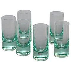 Chic Set of 6 Moser Water Long Drink Glasses Tinted Green Fontana Arte Style