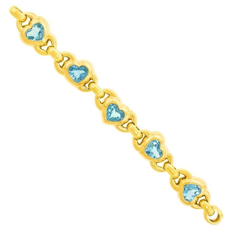 Chic 1970s Pop Art Aquamarine and Gold Bracelet