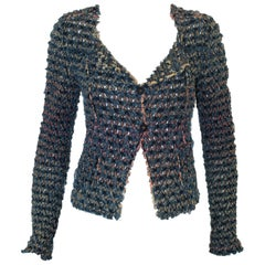 Chic & Shaby Chanel Frayed Jacket W/ Cut Outs on Jean Cotton Fabric