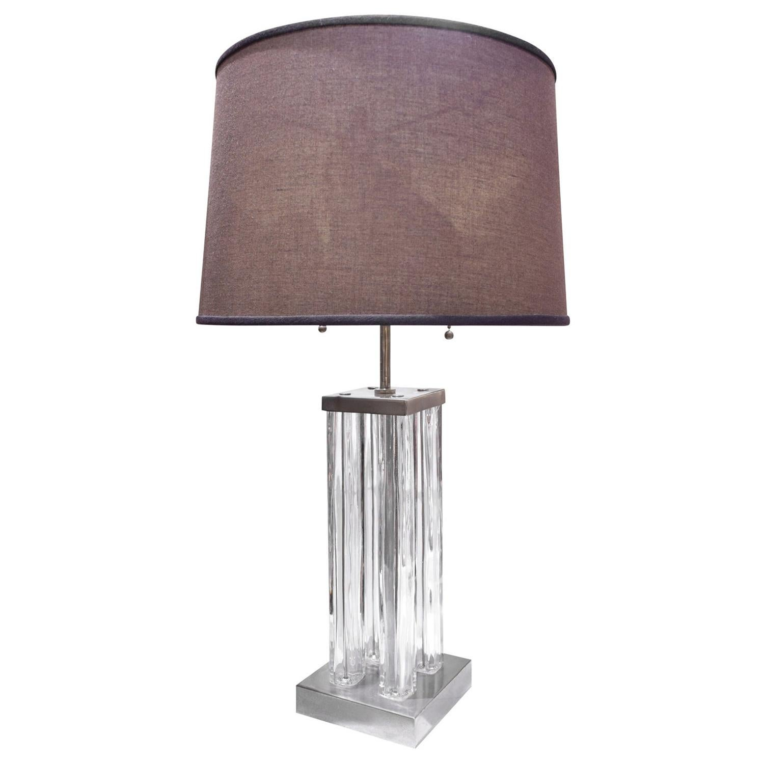 Chic Small Table/Desk Lamp in Steel and Glass, 1930s