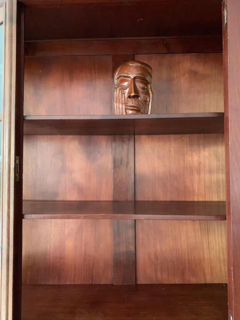Brass Chic and Stylish Solid Mahogany Dutch Arts & Crafts Display Cabinet / Showcase For Sale