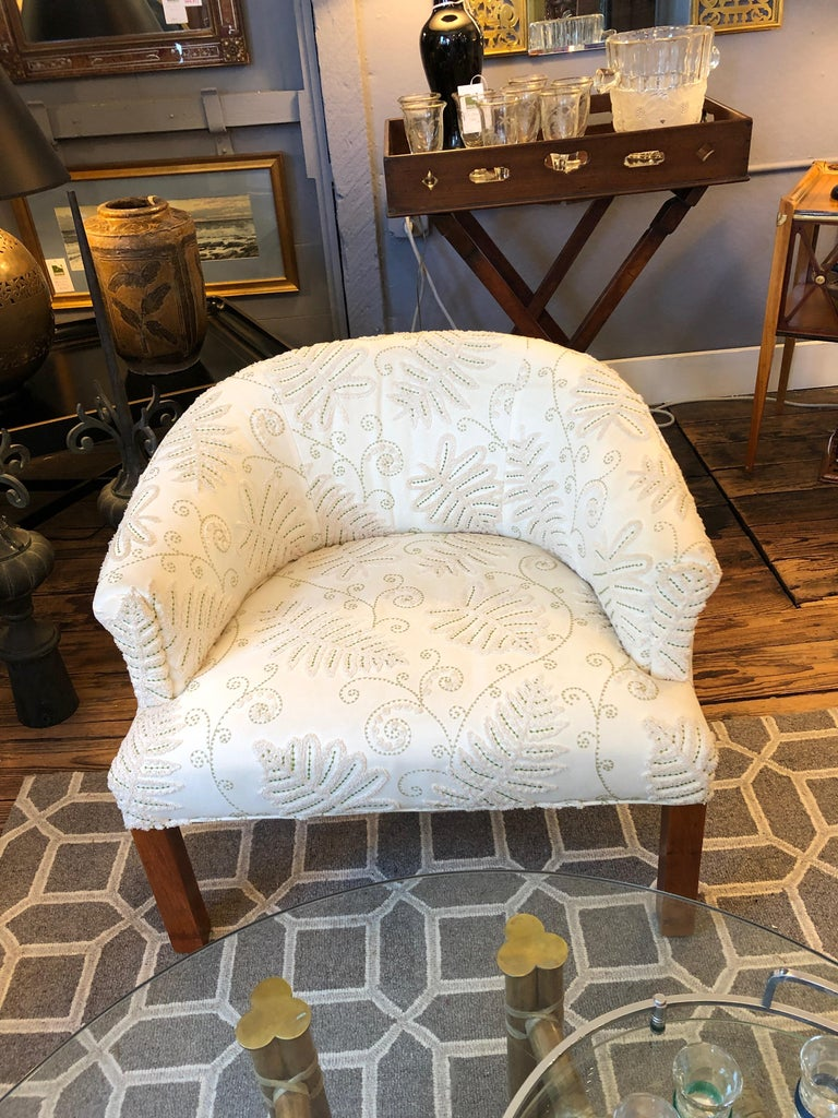 Chic Tub Shaped Compact Pair of Upholstered Club Chairs