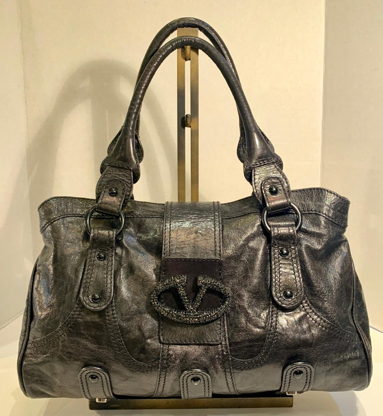 Women's Chic Valentino Metallic Black Leather Catch Purse with Black Crystal Logo Clasp For Sale