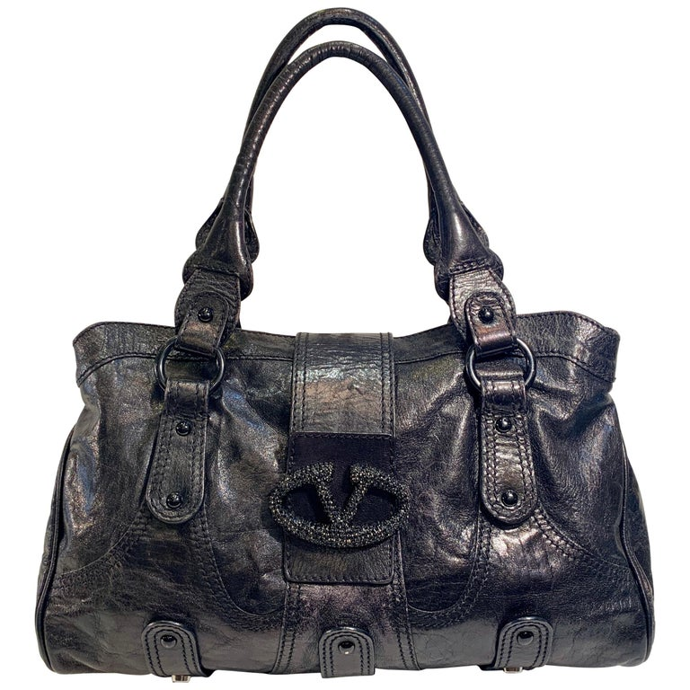 Chic Valentino Metallic Black Leather Catch Purse with Black Crystal Logo Clasp For Sale