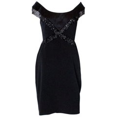 Chic Vintage Black Cocktail Dress by Bellville Sassoon with Bead Detail