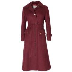 Chic Vintage Burgundy Wool Coat by Aquascutum