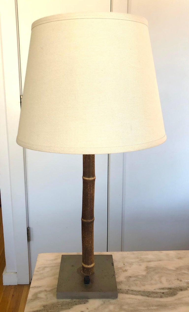 Mid-Century Modern Chic Vintage French Bamboo and Nickeled Steel Table Lamp For Sale