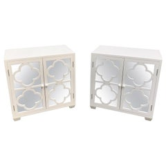 Chic Vintage Pair of White Lacquered and Mirrored Nightstands