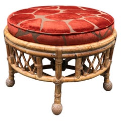 Chic Vintage Round Bamboo Ottoman Upholstered in Faux Giraffe