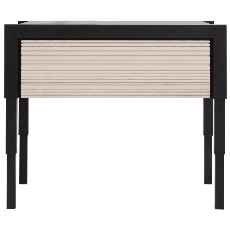 Chicago Side Case Table in Blackened Walnut & Whitewash Maple by May Furniture For Sale
