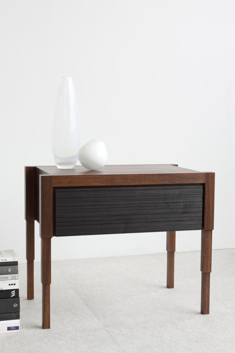 Modern Chicago Side Case Table in Oiled Walnut & Blackened Walnut by May Furniture For Sale