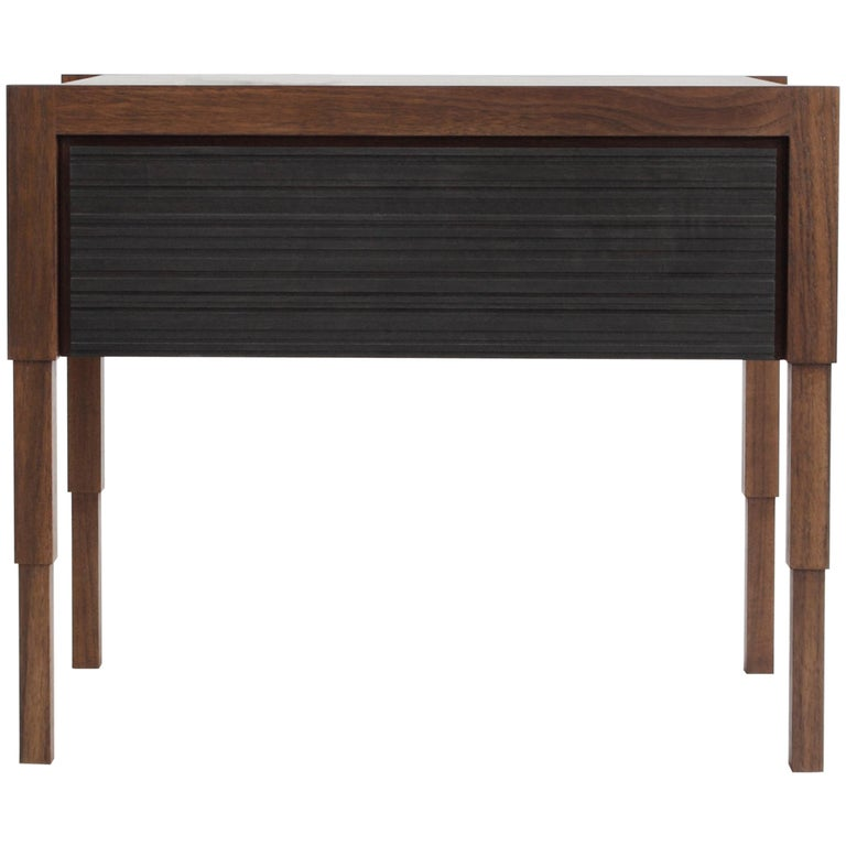 Chicago Side Case Table in Oiled Walnut & Blackened Walnut by May Furniture For Sale