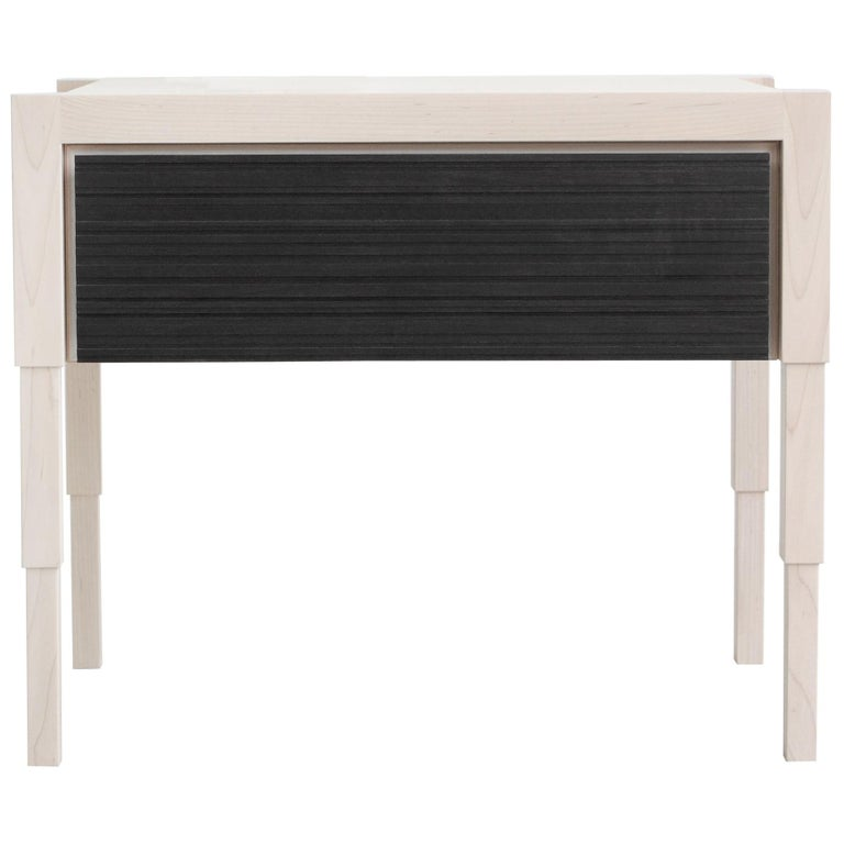 Chicago Side Case Table in Whitewash Maple & Blackened Walnut by May Furniture For Sale