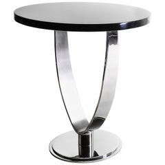 Chicago, Side Table in Polished and Brushed Stainless Steel and Black Lacquer